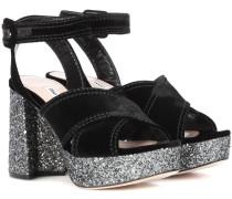 Sandalette mit Samt und Glitter