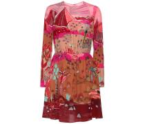 Bedrucktes Kleid aus Crêpe de Chine aus Seide