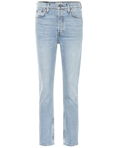 High-Rise Straight Jeans Ankle Crop
