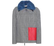 Jacke aus einem Wollgemisch mit Nerz und Leder