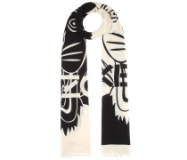 Bedruckter Schal aus einem Baumwoll-Seidengemisch