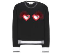 Baumwoll-Sweater mit Leder- und Pelzbesatz