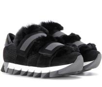 Sneakers aus Veloursleder, Mesh und Fell