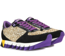 Sneakers aus Glitter und Lackleder