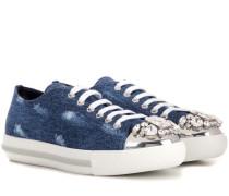 Kristallverzierte Sneakers aus Denim
