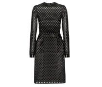 Perforiertes Kleid aus Lammleder und Seidenchiffon