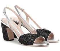 Slingback-Sandalen mit Glitter
