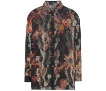 Bedruckte Bluse aus einem Seidengemisch mit Metallic-Finish