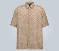 Seidenhemd mit Logo und Muster