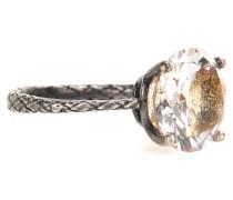 Intrecciato-Ring aus oxidiertem Silber mit Kristallstein