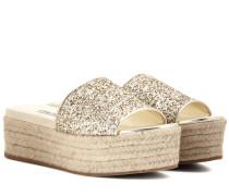 Espadrille-Sandalen mit Glitter