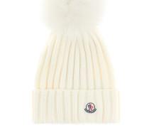 Mütze aus Wolle mit Fuchsfell