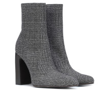 Karierte Ankle Boots aus Wolle