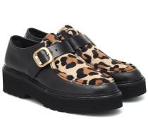 Loafers aus Leder und Kalbshaar