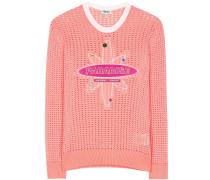 Verzierter Pullover aus Lochstrick