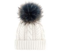 Mütze aus einem Woll-Cashmere-Gemisch mit Fell