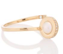 Diamantring Contrarié aus 18kt Gelbgold mit Perle