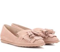 Ballerina-Loafers aus Veloursleder