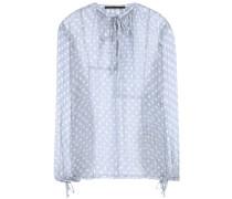 Gepunktete Bluse aus Seidenchiffon mit Metallic-Akzenten