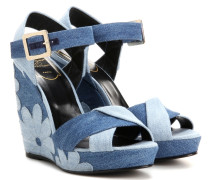 Wedge-Sandalen aus Denim