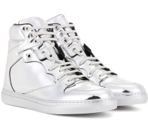 High-Top-Sneakers aus Metallic-Leder