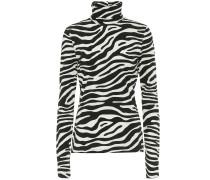 Rollkragenpullover mit Zebramuster