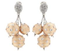 Kristall- und perlenverzierte Clip-Ohrringe