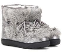 Boots New Fanny aus Metallic-Leder mit Pelzbesatz