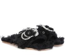 Pantoletten aus Faux Fur