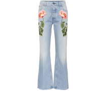 Flared Jeans mit Stickerei