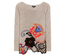 Bestickter Strickpullover aus Baumwolle, Wolle und Cashmere