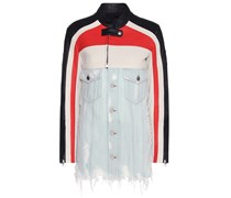 Jacke aus Baumwolldenim und Leder