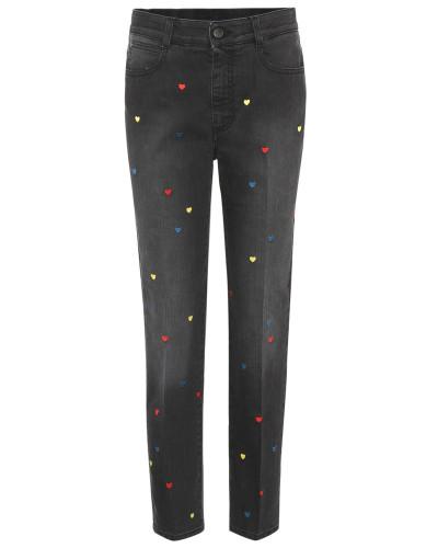 High-Waist Jeans mit Aufdruck und geradem Bein