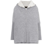 Leather-trimmed cashmere-blend hoodie