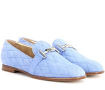 Loafers Double T aus gestepptem Leder