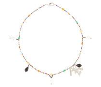 Halskette mit Perlen und Kristallsteinen