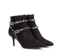 Garavani Ankle Boots Rockstud Noir aus Veloursleder