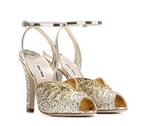 Sandaletten aus Metallic-Leder mit Glitter