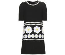 Kleid aus Wollcrêpe mit Applikationen