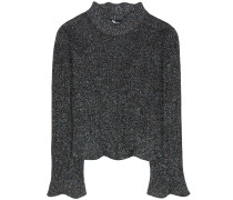 Pullover aus Metallic-Strick in Cropped-Länge