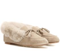 Slippers Chalet aus Veloursleder und Fell