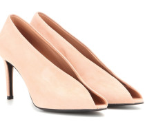 Open-Toe-Pumps aus Veloursleder