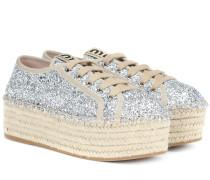 Espadrille-Sneakers mit Glitter