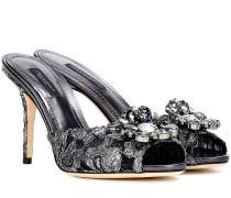 Sandalen aus Taormina-Spitze mit Kristallverzierung