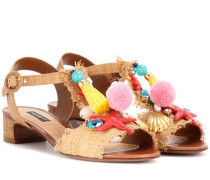 Verzierte Sandalen in Panamabindung