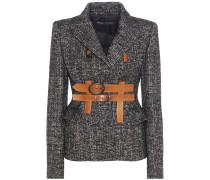 Tweed-Blazer aus einem Woll-Mohair-Alpakagemisch mit Lederbesatz