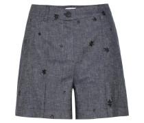 Bestickte Twill-Shorts aus Baumwolle und Leinen