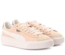 Sneakers mit Plateau aus Leder