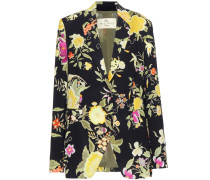 Crêpe-Blazer mit floralem Print