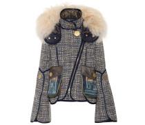 Tweed-Jacke mit Schafsfell